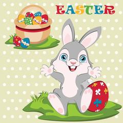 Easter bunny width Easter basket