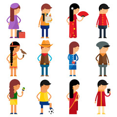 People nationality vector character set