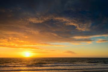 Dramatic sunset and sea