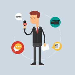 Character - reporter, journalism concept. Vector illustration, f