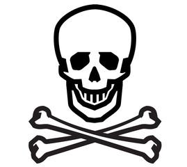 Jolly Roger vector logo design template. human skull, danger or