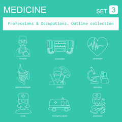 Professions and occupations outline icon set. Medical. Flat line
