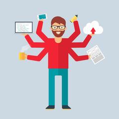 Multitasking character: programmer. Flat style, vector illustrat