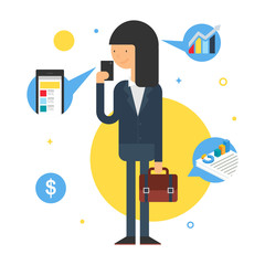Illustration of a businesswoman, flat style