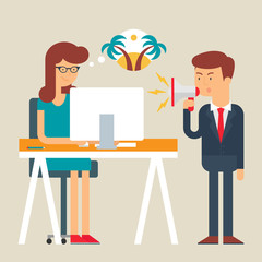 Vector illustration of an employee abstracting from boss yelling
