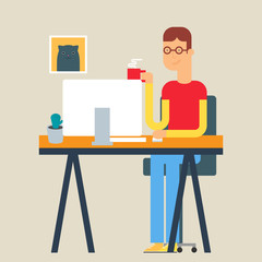 Vector illustration of a man sitting at the table in the office.