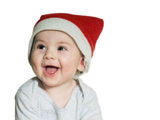Caucasian baby boy in Christmas hat isolated