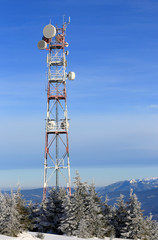 Radio tower in mountains