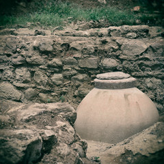Ancient jug.Special toned photo in vintage style