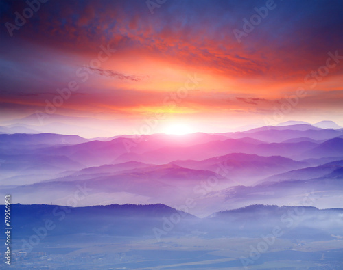 sunset in mountains - 79956958