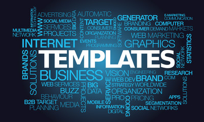 Templates graphics words tag cloud template blue text