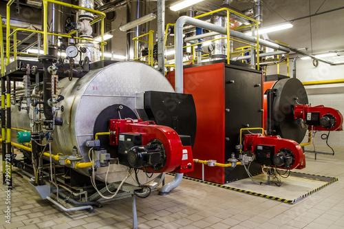 Gas boilers in gas boiler room - 79957728