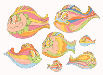 Set of cartoon, cheerful brightly colored fish