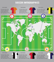 Soccer infographics elements infographic vector.