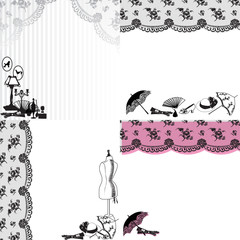 four patterns with lace and retro still life