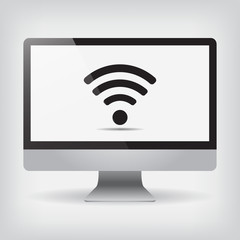 Monitor Wi fi on screen vector illustration on gray background