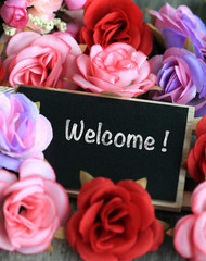 welcome sign on chalkboard