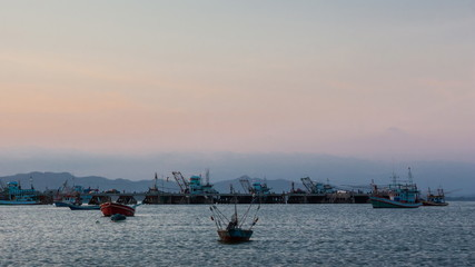 Commercial dock on twilight time in Thailand Asia