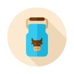 Can container for milk flat icon with long shadow