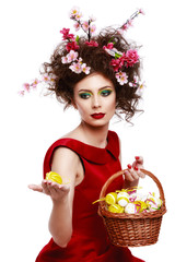 Easter Woman. Spring Girl with Fashion Hairstyle. Portrait of Be