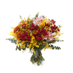 Bouquet made of Chrysanthemum, Lisianthus, Freesia and Mimosa.