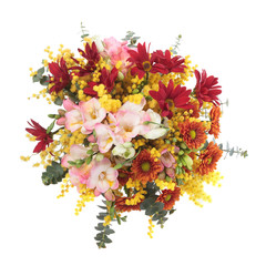 Bouquet made of Chrysanthemum, Lisianthus, Freesia and Mimosa fl