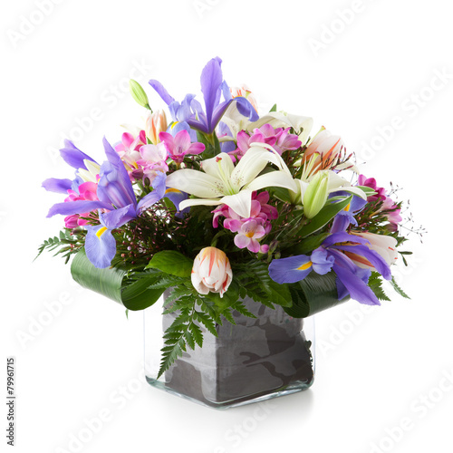 Foto op Canvas Iris Flower arrangement made of Lily, Tulip, Iris and Freesia flowers