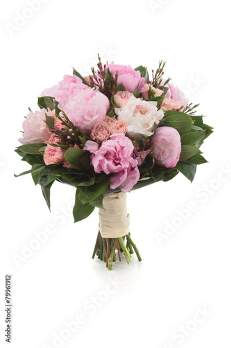 Foto op Canvas Lilac Pink Peonies and Roses bouquet. Isolated on white.