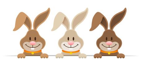 3 Easter Bunnies Banner