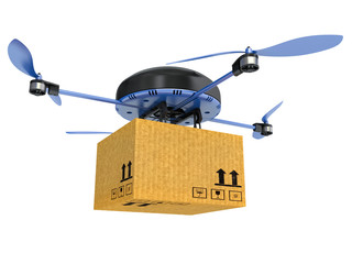 Delivery drone with the package isolated on white background