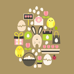 Easter holiday Flat Icons Set over light brown