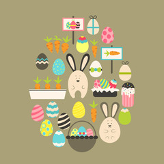 Easter holiday Flat Icons Set over brown