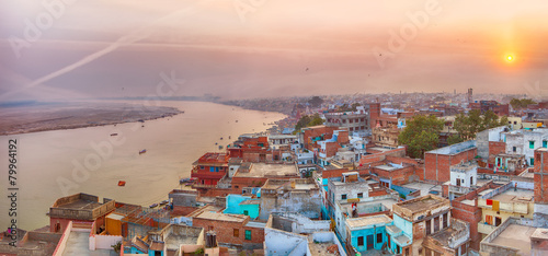 Fotobehang India Sunset view over Varanasi during kite festival