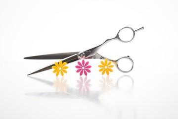 Friseurschere mit stylischen Blüten im Vordergrund, High Key