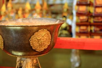Tibetan buddhist brass vase. Drepung monastery-Tibet. 1239