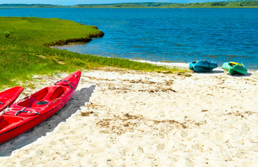 Colorful kayaks pulled up onto the sand