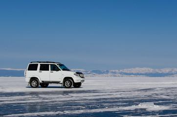 a car on the ice surface