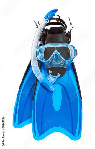 Fins, mask, snorkel on a white background.
