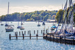 Leinwanddruck Bild - Sailboats on lake Starnberg