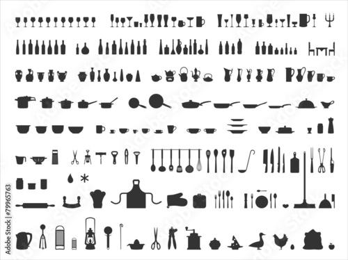 Zestaw ikon Silhouetten Küche