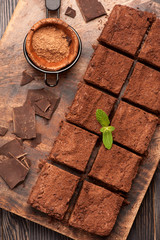 chocolate brownies on cutting board