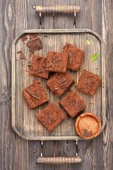 Cake chocolate brownies in vintage tray