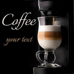 cappuccino and coffee machine with space for text
