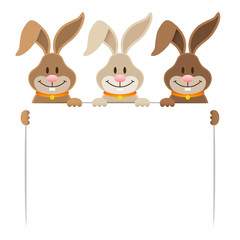 3 Easter Bunnies Holding Banner