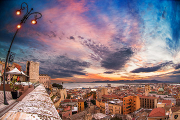 Sunset with panoramic views over Cagliari