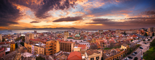 Panoramic view over Cagliari in a colorful sunset