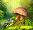 Fantasy mushroom cottage on a colorful meadow - 79967351