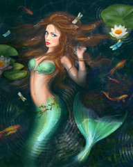 Beautiful Fantasy mermaid in lake with lilies
