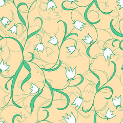 Lily of the valley. Seamless floral pattern