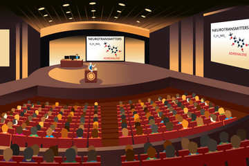 Presentation in a conference in an auditorium